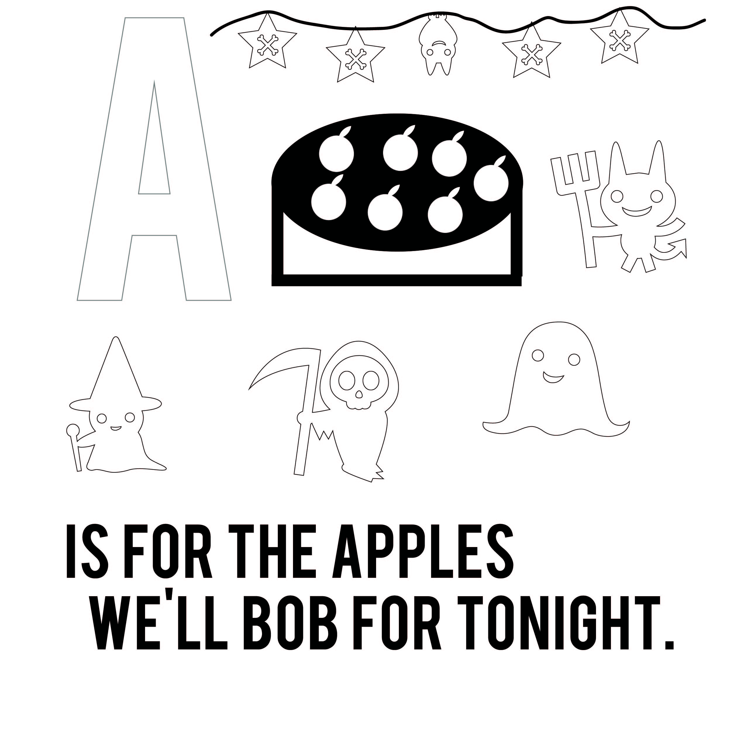 Coloring Page from All Hallow's ABC by Jenni Kaye